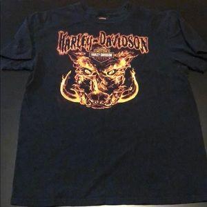 Black Harley Davidson Fire Short Sleeve Shirt